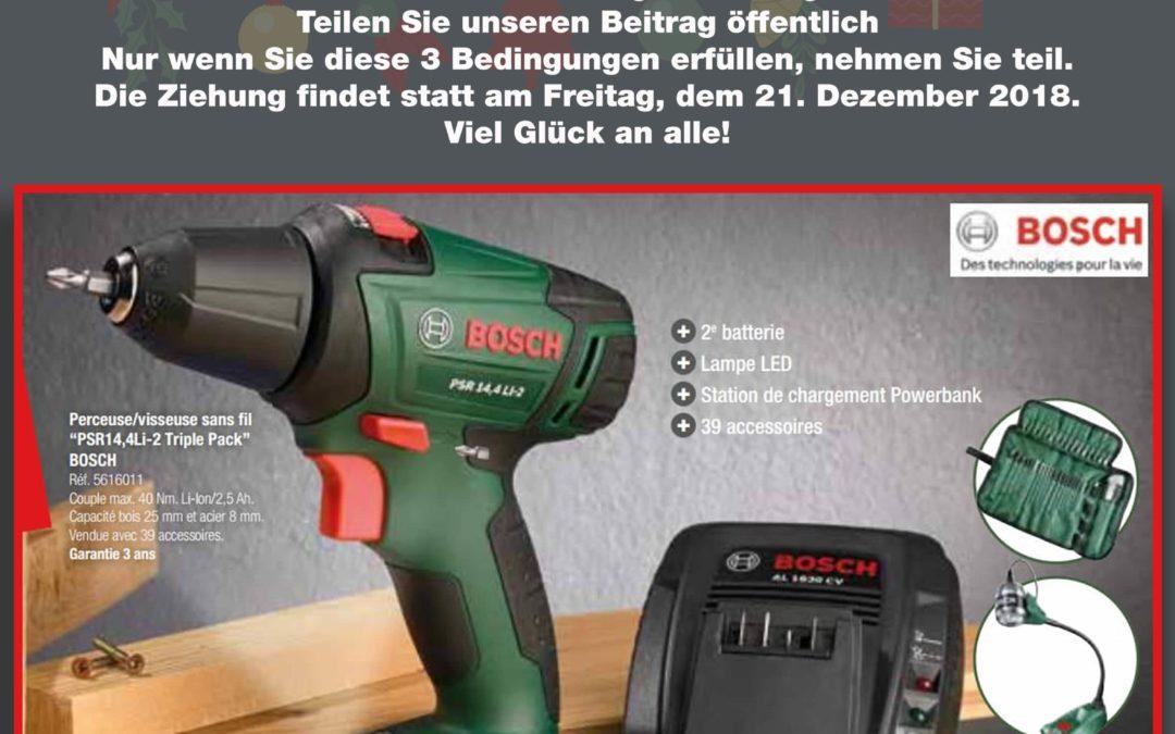 Gewinnen Sie diesen Bosch Akku-Bohrschrauber im Wert von 239,-€  inklusive Accessoires