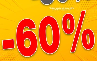 -60% ab 3 Rabattartikeln*(Artikel welche mit einem -50% Aufkleber versehen sind)
