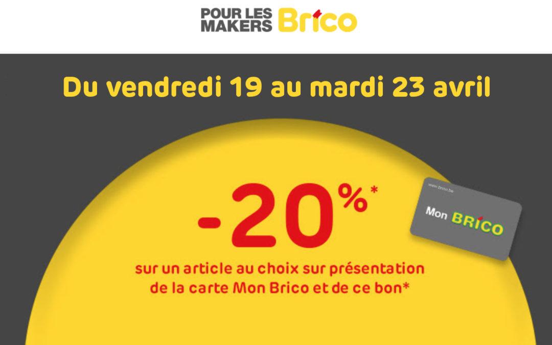 *Bon -20% * Gültig vom 19.04. bis 23.4.2019 mit der MonBrico Karte