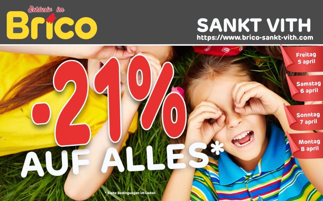 -21 % auf alles in Brico Sankt Vith