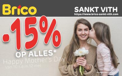 Geniet 15 %* korting op alles ter gelegenheid van Moederdag!