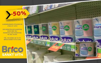 Liquidation -50% sur toutes les peintures murales 'Colours' Dulux*