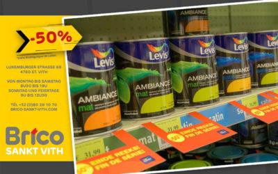 Liquidation -50% sur toutes les peintures Levis Ambiance 'fin de série'*