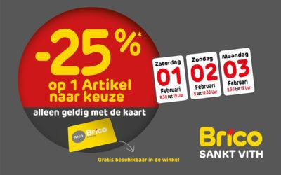 -25%* op één artikel met de Mon Brico kaart