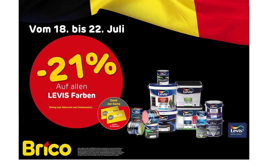 """Profitieren Sie von -21%* auf allen Levis Farben dank der """"MonBrico"""" Karte."""