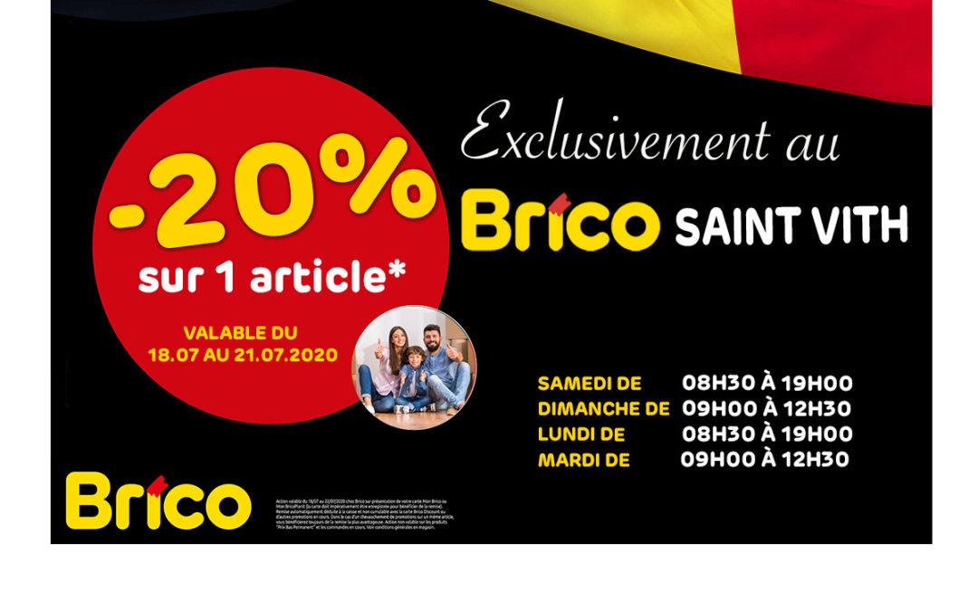 Profitez d'une réduction de -20 %* sur 1 article, exclusivement au Brico de Saint Vith.