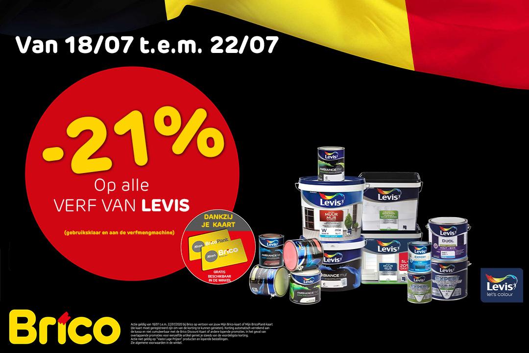 """Profiteer van -21%* op alle verf van Levis dankzij je """"MonBrico"""" Kaart."""