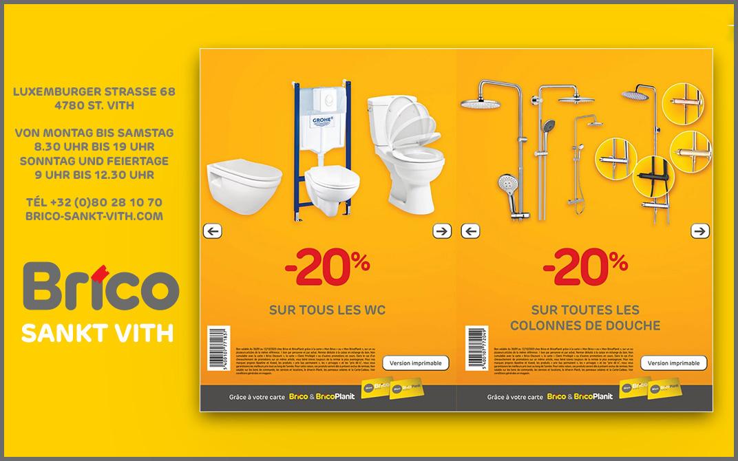 Profitieren Sie von -20% Gutscheine* auf alle Toiletten und Duschkolonne dank der 'MonBrico' Karte.