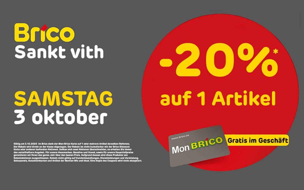 Profitieren Sie von -20%* auf 1 Artikel am Samstag 3/10/20, dank der 'MonBrico' Karte.
