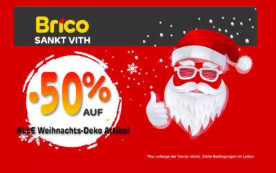 -50%* auf alle Weihnachts-Deko Artikel