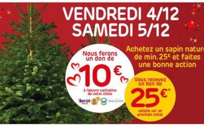 Kaufen Sie einen natürlichen Baum von mindestens 25 € und machen Sie eine gute Aktion