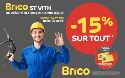 """Profitez d'une réduction de -15%* sur tout avec la carte """"Mon Brico""""."""