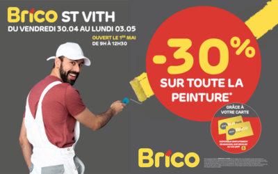 Profitez d'une réduction de -30%* sur toute la peinture avec la carte 'Mon Brico'