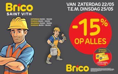 "Profiteer van -15%* korting op alles met de kaart ""Mon Brico"" of ""Mon BricoPlanit""."