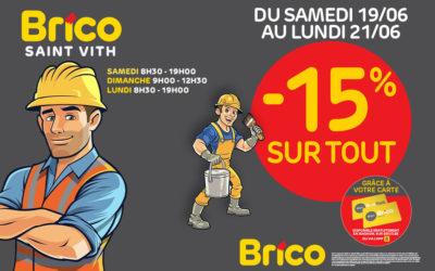 """Profitez d'une réduction de –15%* sur tout avecla carte """"Mon Brico"""""""